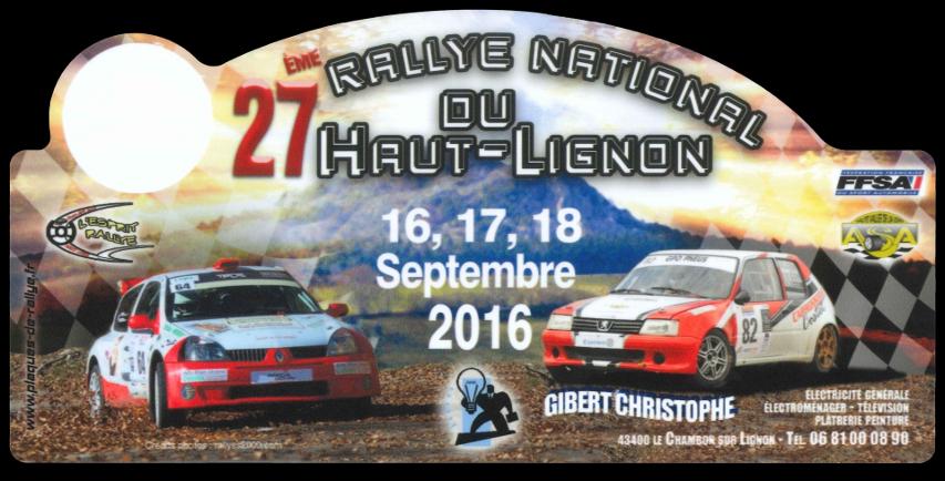 2016 plaque 27eme rallye du haut lignon