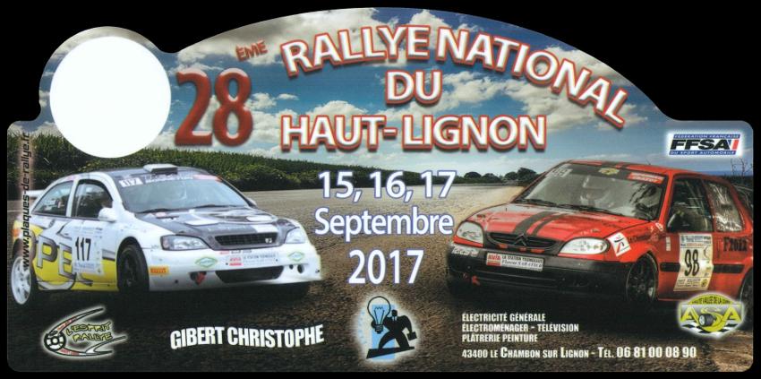2017 plaque 28eme rallye du haut lignon 1